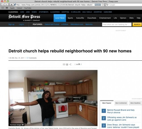 Detroit Free Press: Detroit Church Helps Rebuild 90 New Homes - Quicken Loans Zing Blog