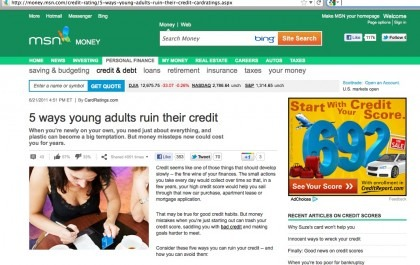 Screen shot 2012 01 25 at 12.24.52 PM e1327512951463 Top 5 Ways Young Adults Ruin Their Credit