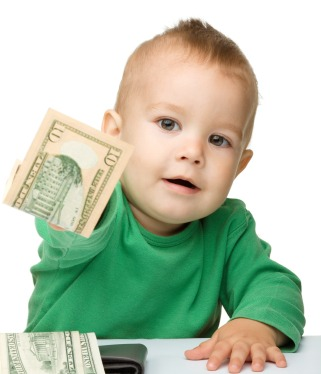 baby handing over cash Your Kids Can Save You Money at Tax Time