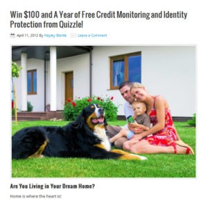 quizzle giveaway 300x286 Quizzle Offers $100 and a Year of Free Credit Monitoring and Identity Protection to a Lucky Winner