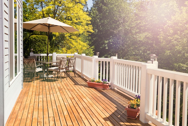 Wooden backyard deck