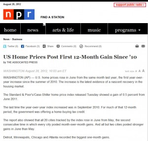 NPR 300x287 Home Prices Rebound   Post 12 Month Gain
