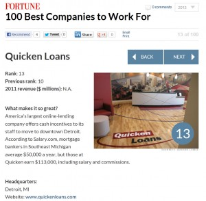 Quicken Loans Fortune Magazine 300x294 Quicken Loans in Fortunes Top 100 for 10th Year in a Row!