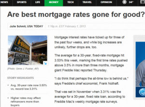 usa today mortgage rates 300x222 Are Record Low Mortgage Rates Going, Going, Gone?