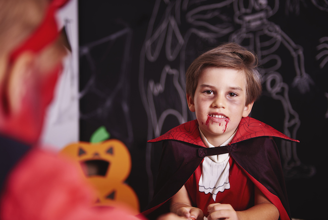 Boy dressed in halloween costume