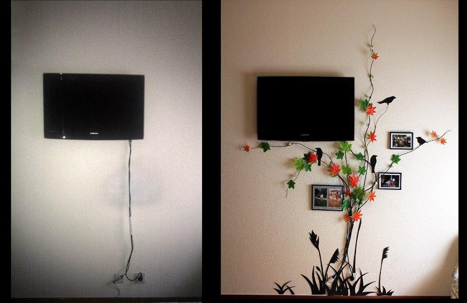 как скрыть кабель от телевизора на стене