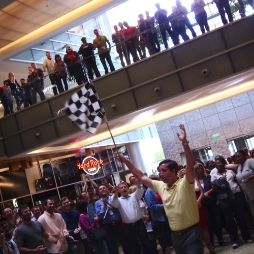 Quicken Loans Technology Team Leader Andy Picmann Wins The Flag Waiving Contest Inside The Compuware Atrium.