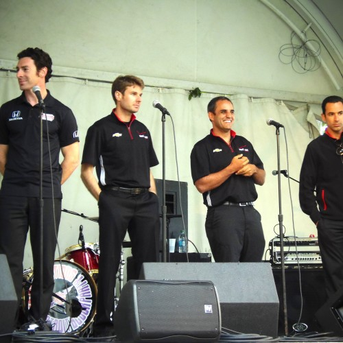 Simon Pagenaud, Will Power, Juan Pablo Montoya And Helio Castroneves Answer Questions In Campus Martius Park.