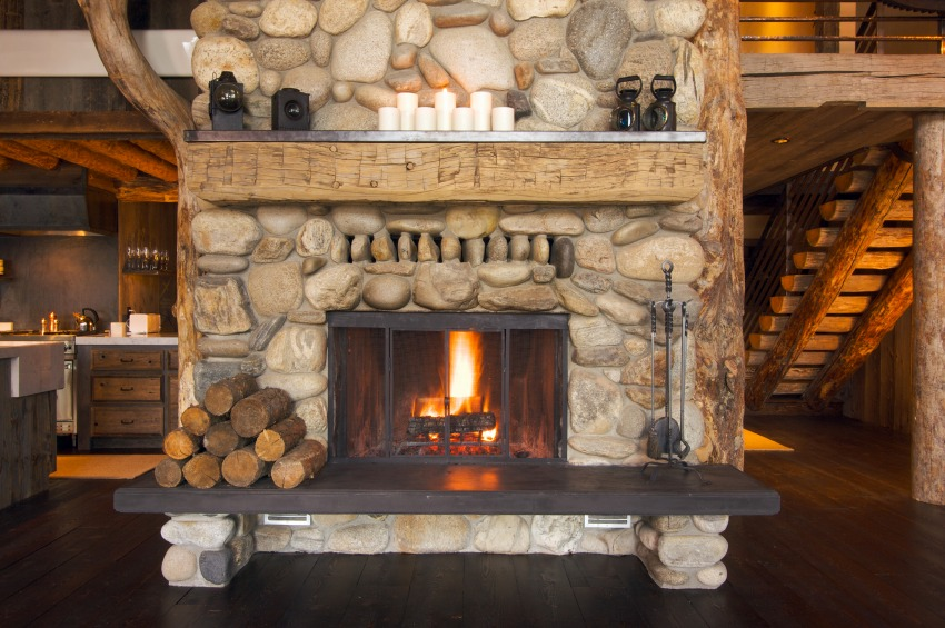 How eco friendly is your fireplace zing blog by quicken for Cabin fireplace pictures