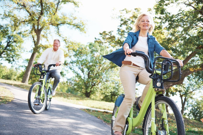 Retirees on bicycles