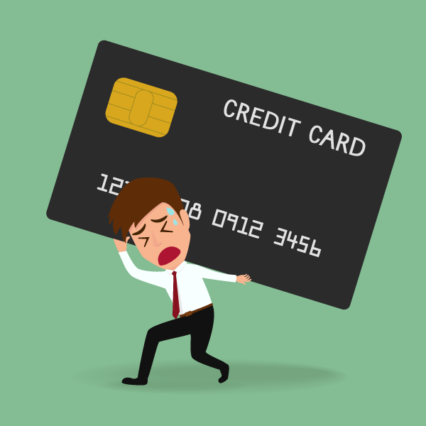 Man being crushed by credit card