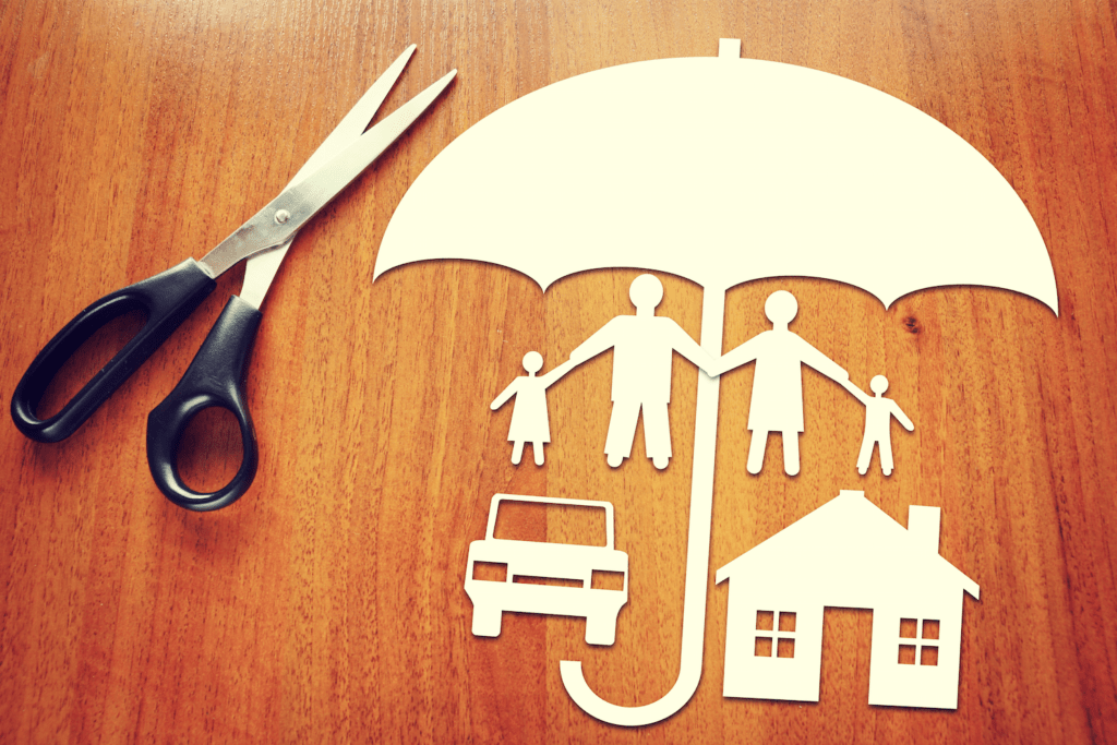 umbrella covering a family