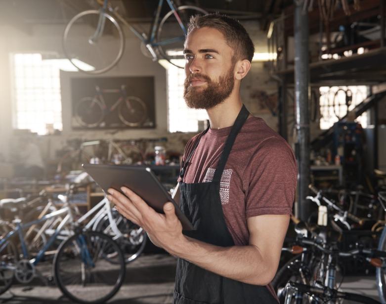 self employed bike repair man