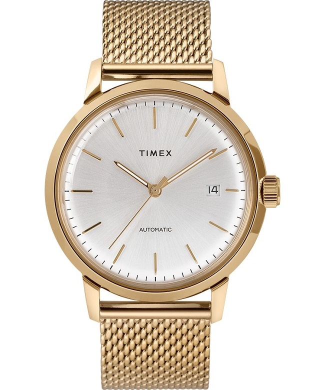 gold, timex watch