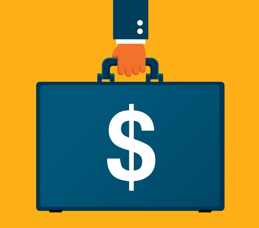 briefcase with a dollar sign on a yellow background