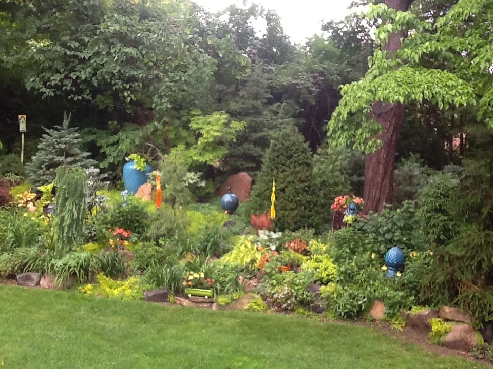 Lush garden with gazing globes