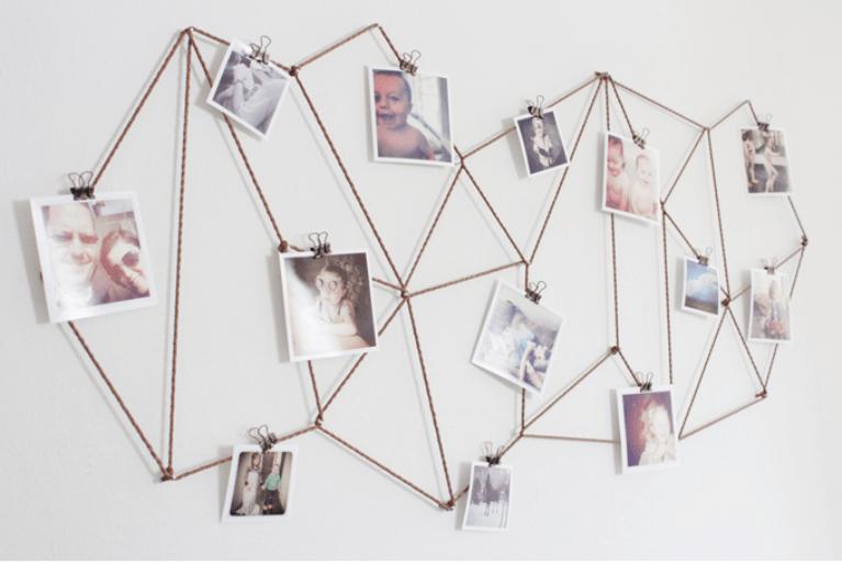 Geometric string art with photos