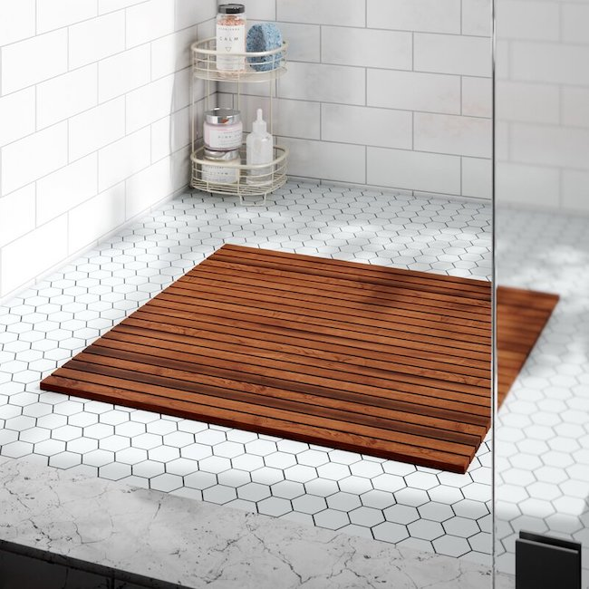 Wooden shower mat product photo.