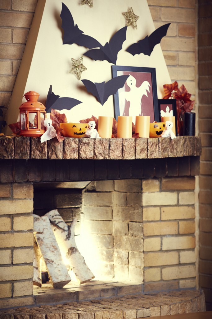 Fireplace beautifully decorated for Halloween
