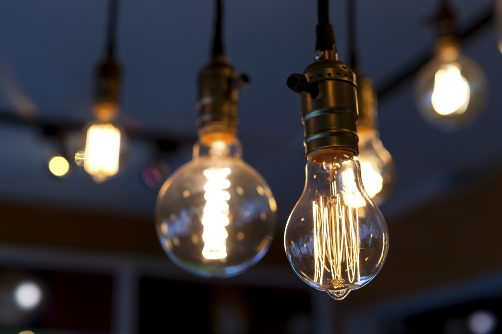 light bulbs hanging