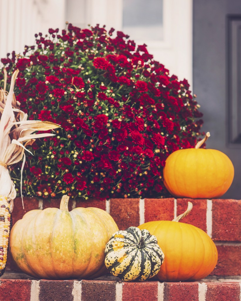 porch with fall decor
