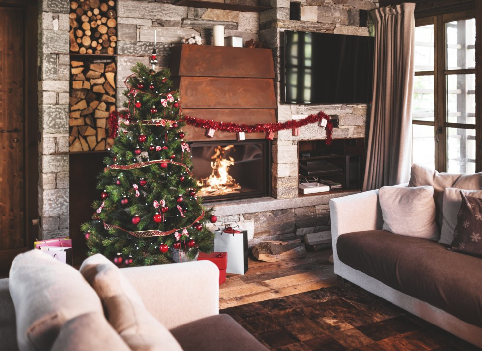 rustic living room with christmas decorations