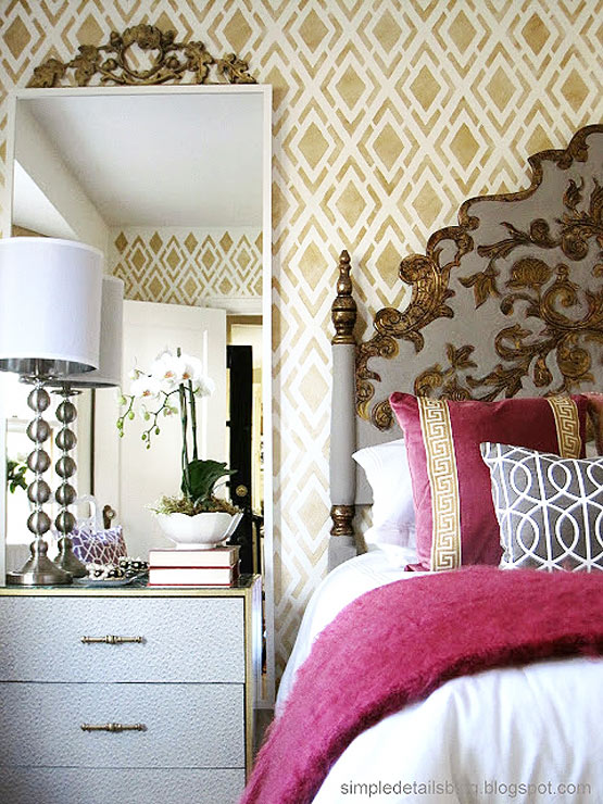 stenciled bedroom wall