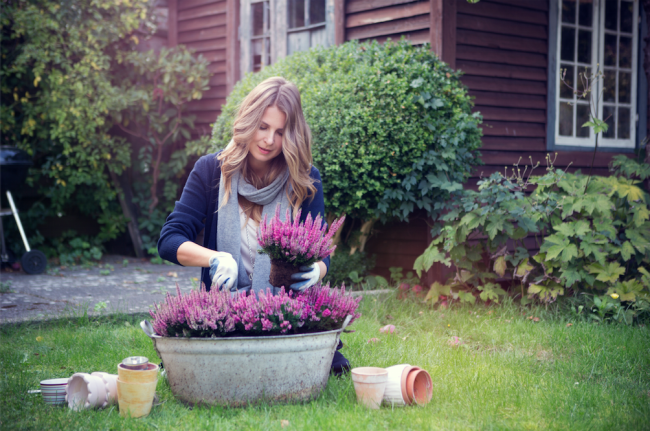 woman gardening in her yard