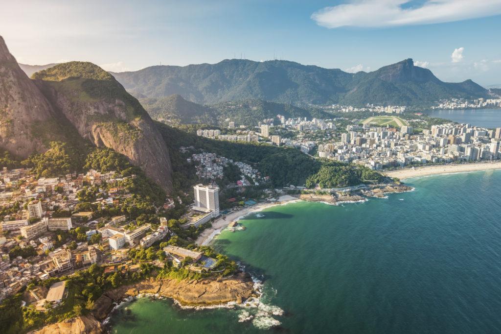 Aerial view of Ipanema Beach in Rio de Janeiro, Brazil