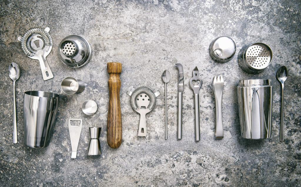 Bar tools making cocktail Shaker jigger Food beverages vintage