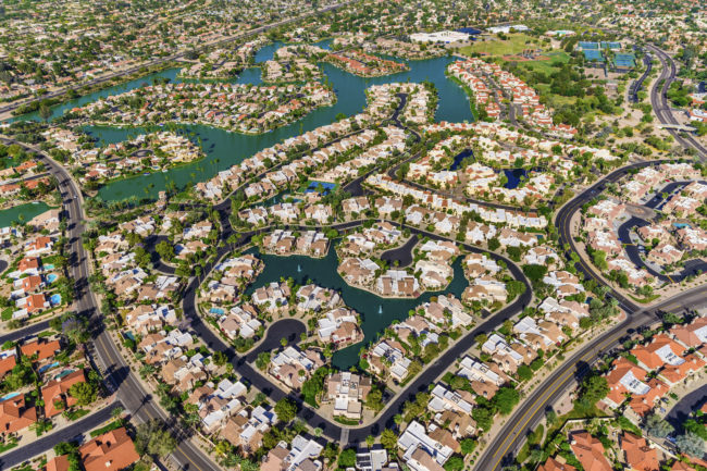 residential area aerial near Phoenix Arizona, Scottsdale Ranch area