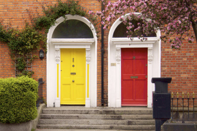 Yellow and red two doors in spring