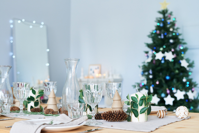 Photo of elegant dining table preparing for holiday