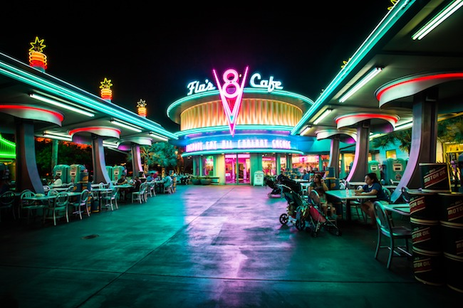 Flo's diner at Disney World at night