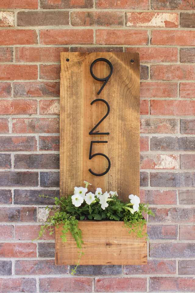 House number and flower planter