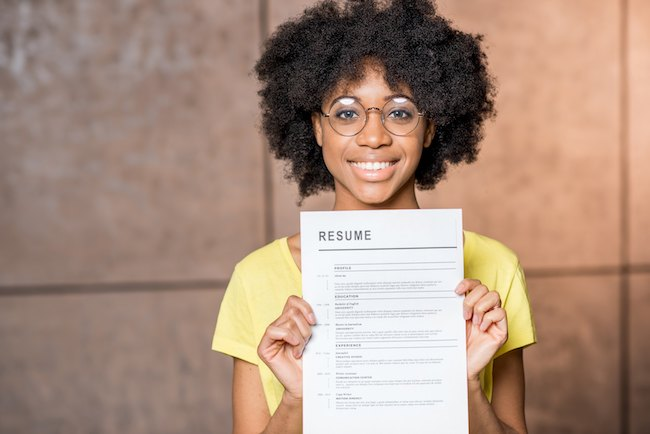 Girl Holding Her Resume