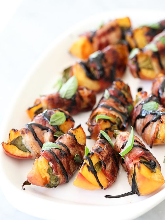 Bacon wrapped peaches with balsamic glaze