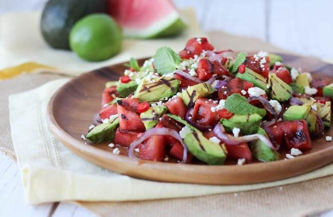 Grilled avocado watermelon salad