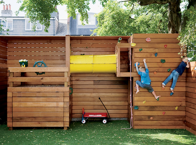 Large rock climbing wall on a playscape
