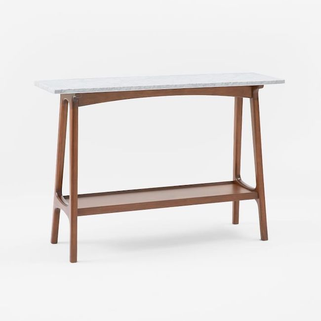 Reeve Mid-Century Console, Marble/Pecan