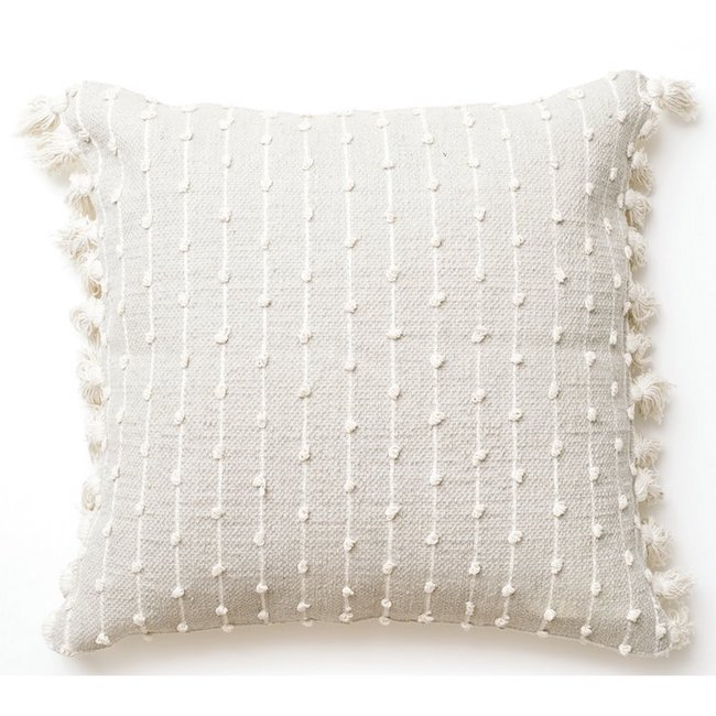White, knit throw pillow