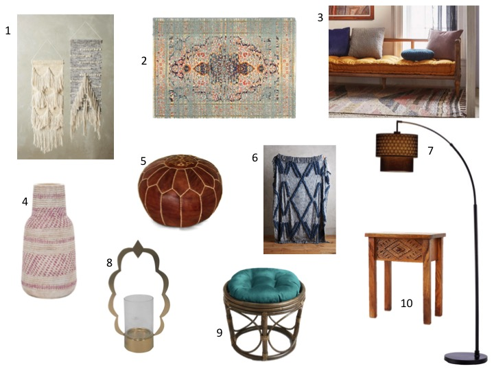 collage image with bohemian decor items