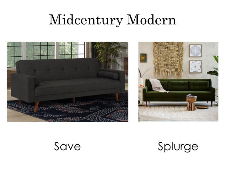 Midcentury modern sofas