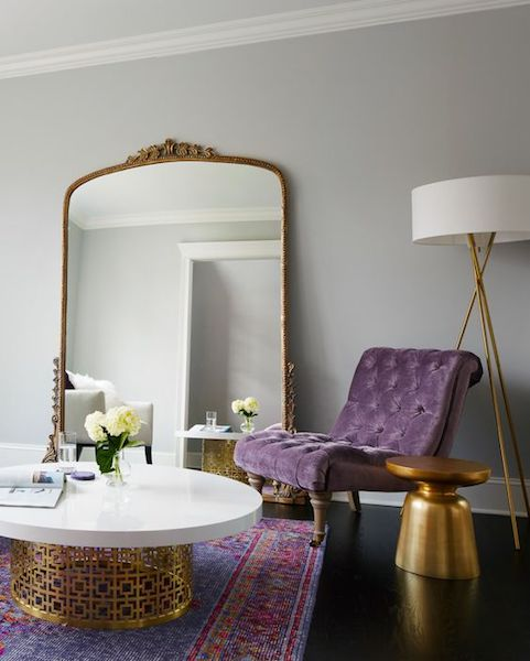 ultra violet accent chair with metallics