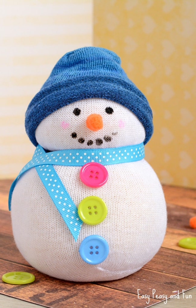 Now sew sock snowman