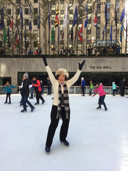 Rosemary ice skating in New York City