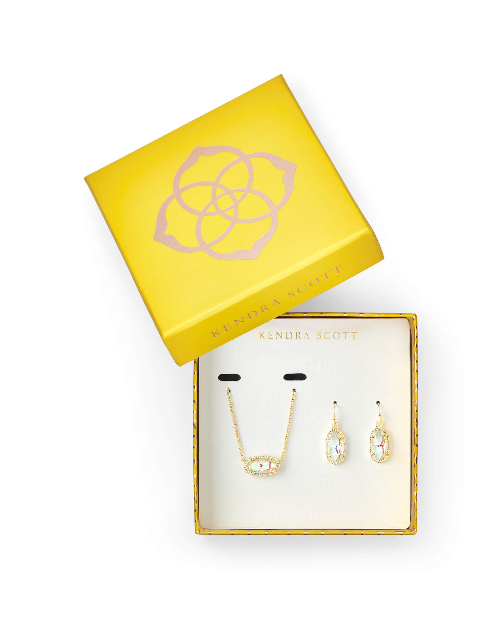 Necklace and earring set in a yellow box