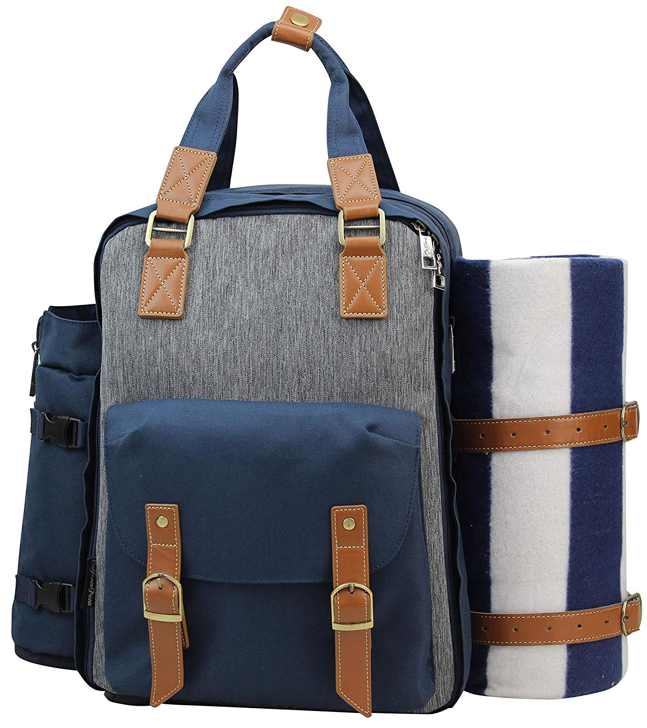 blue and gray picnic backpack set