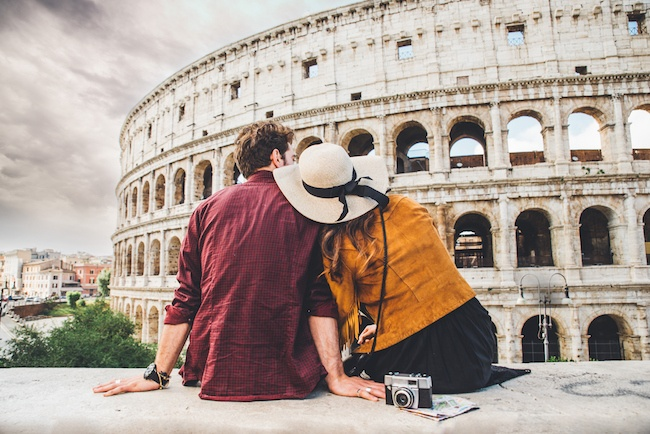 Couple on vacation in Rome