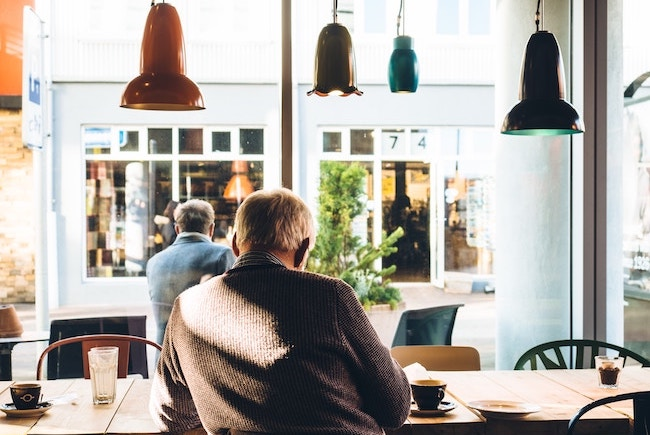 Man sitting in coffee shop